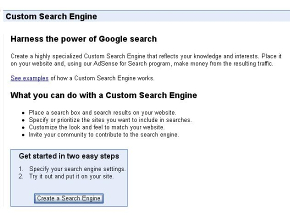 Aanmaken van Custom Search Engine